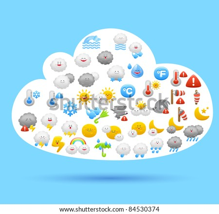 cloud sign and weather icon set - stock vector