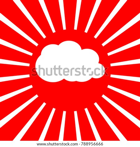 Cloud sign illustration. Vector. White icon on red sun with rays as background. Isolated.