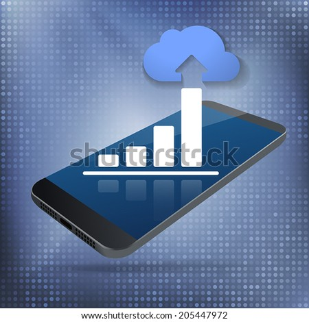 Cloud Smartphone Data Growth. Cloud computing and big data concept with rising bar chart and blue cloud on top of smartphone. Layered file for easy customization. Fully scalable vector illustration. - stock vector