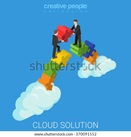 Cloud solution flat 3d isometry isometric business technology concept web vector illustration. Two businessmen building bridge with puzzle pieces. Creative people collection.