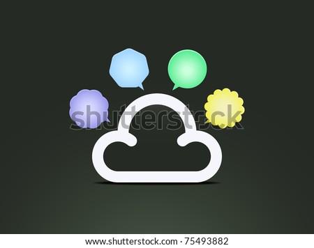 Cloud speech bubbles - stock vector