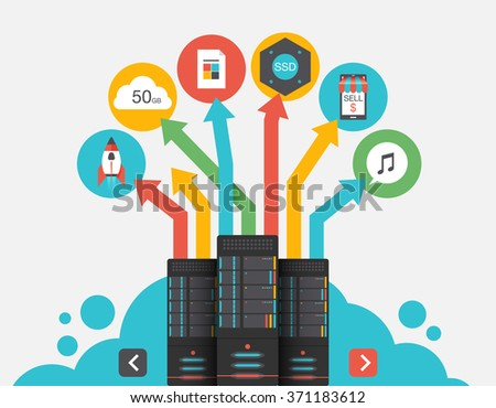 Cloud Storage. Abstract flat vector illustration of cloud storage and development concepts. Elements for mobile and web applications - stock vector
