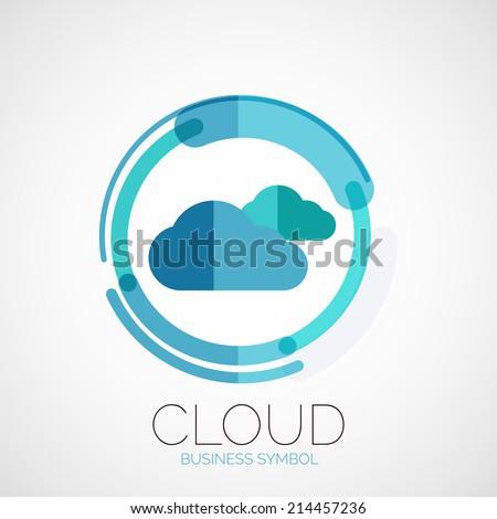 Cloud storage, company logo, business symbol concept, minimal line style - stock vector
