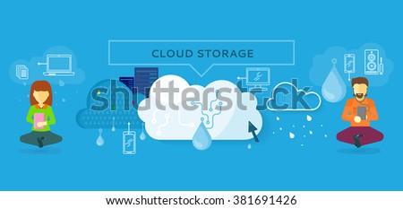 Cloud storage design flat concept. Storage and cloud, cloud computing, cloud backup, online storage, data storage, data, network, internet web storage, connection clouds storage illustration - stock vector