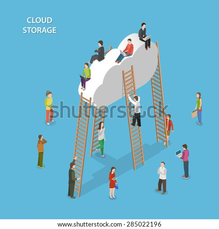 Cloud Storage Isometric Vector Concept. People are Walking Near the Cloud, Some of Them Try to Climb Up to the Cloud With Ladder, Some are Sitting on the Cloud. - stock vector