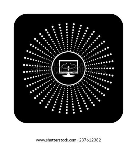 cloud storage on the computer on a black background, vector - stock vector