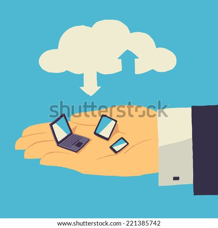 Cloud storage over human hand with tablet, laptop and smartphone - stock vector