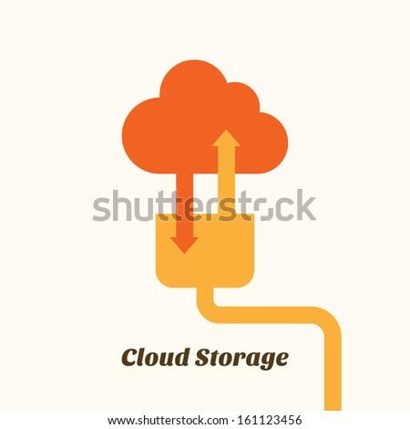 cloud storage system upload download - stock vector