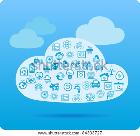 Cloud symbol made from small eco,bio,natural icons - stock vector