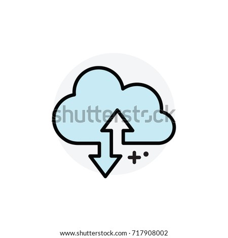 Cloud synchronization concept Isolated Line Vector Illustration editable Icon
