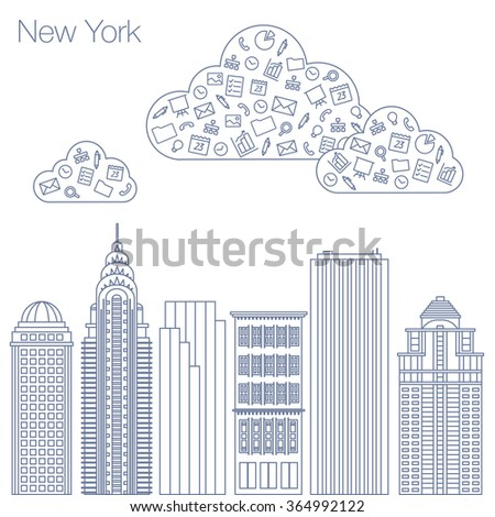 Cloud technologies and services in the world wide web. Hackathon, workshop, seminar, lecture in the metropolis New York. The city is in a flat style for presentations, posters, banners. - stock vector