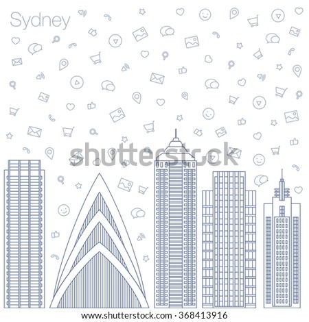 Cloud technologies and services in the world wide web. Hackathon, workshop, seminar, lecture in the metropolis Sydney. City is in a flat style for presentations, posters, banners. Vector illustration - stock vector