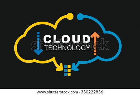Cloud technology concept. Illustration with abstract digital background - stock vector