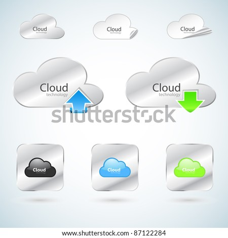 Cloud technology icons - stock vector