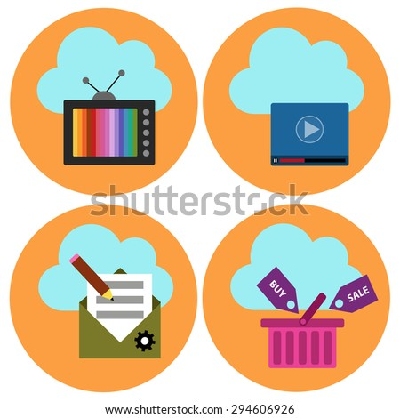 Cloud technology vector icons set - stock vector
