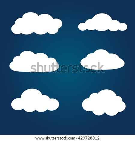 Cloud vector icon set on blue background. Sky vector illustration white cartoon cloud.