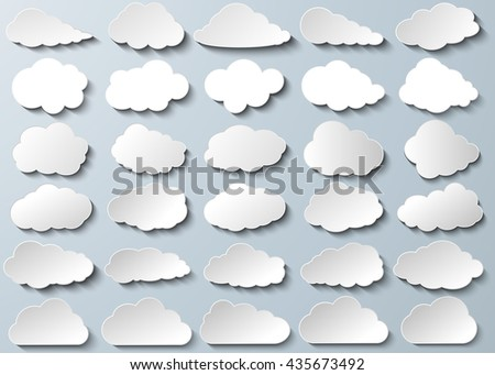 Cloud vector icon set silver color on grey background. Sky flat illustration collection for web, art and app design. Different nature cloudscape weather symbols. - stock vector