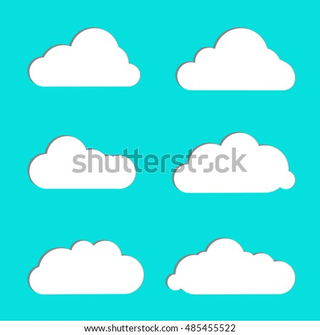 Cloud vector icon set white color on blue background. Different nature cloudscape weather symbols. Vector illustration