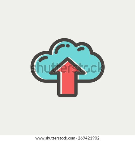 Cloud with arrow up icon thin line for web and mobile, modern minimalistic flat design. Vector icon with dark grey outline and offset colour on light grey background. - stock vector