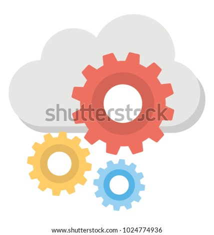 Cloud with configuration process flat design icon
