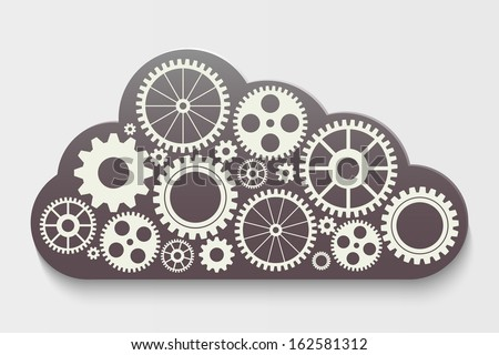 cloud with gears, vector idea - stock vector