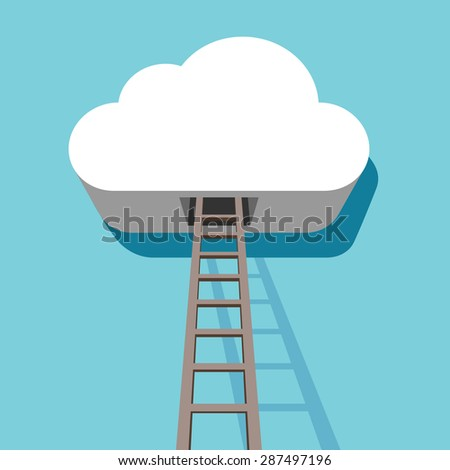 Cloud with ladder leading inside 3D flat design template. - stock vector
