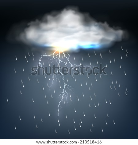 Cloud with rain and a lightning bolt in a discharge of electrical energy during a thunderstorm in a dark threatening sky  vector illustration - stock vector