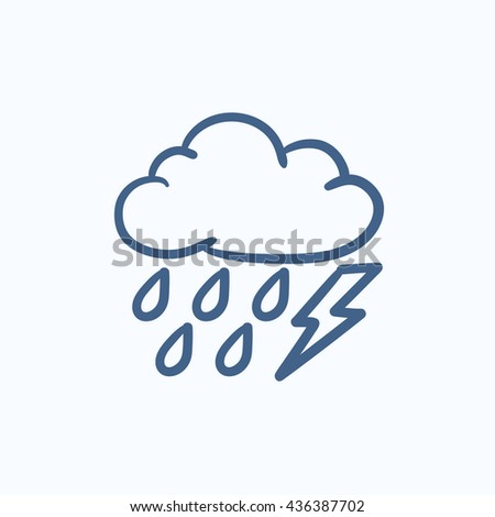 Cloud with rain and lightning bolt vector sketch icon isolated on background. Hand drawn Cloud with rain and lightning icon. Cloud with rain and lightning sketch icon for infographic, website or app. - stock vector