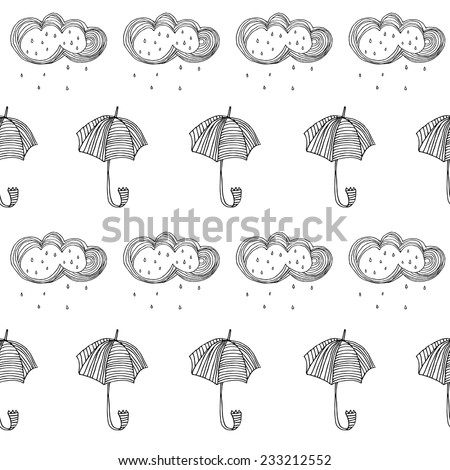 Cloud with Rain doodle cartoon sketch vector illustration, Also works as seamless pattern. Seamless pattern with cute umbrellas.  - stock vector