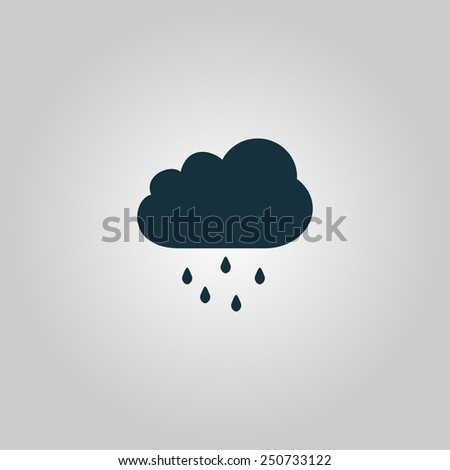 Cloud with rain. Flat web icon, sign or button isolated on grey background. Collection modern trend concept design style vector illustration symbol - stock vector