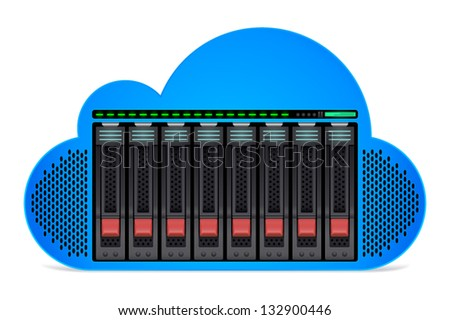 Cloud with Server disks and drives embedded within. Cloud stylized to appear as a server computer. - stock vector