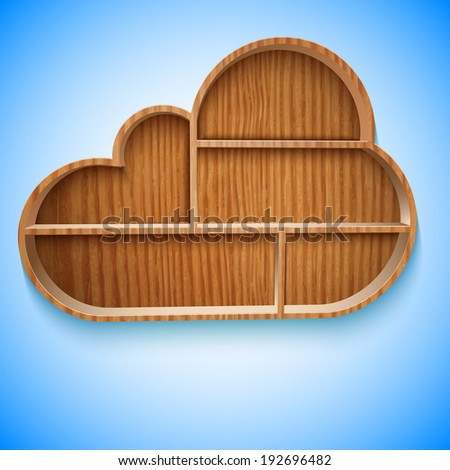 Cloud wood shelves and shelf design on wall, vector illustration. EPS10 - stock vector
