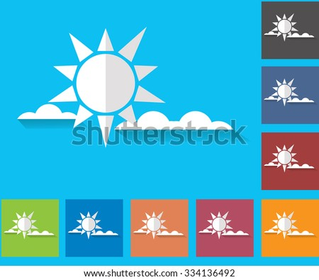 Cloudiness. Sun with clouds. Set of vector icons of weather. Multicolored icons for weather forecasting.
