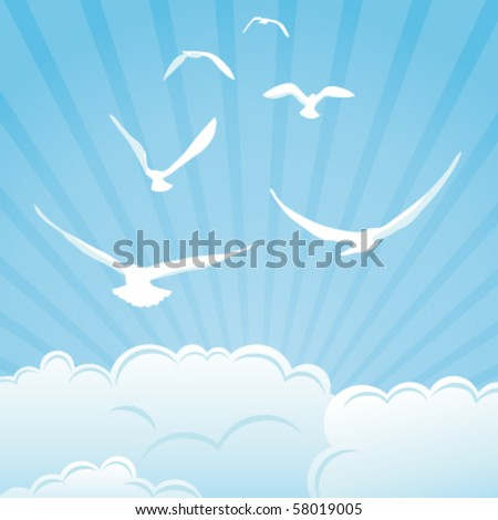 Clouds and birds - stock vector