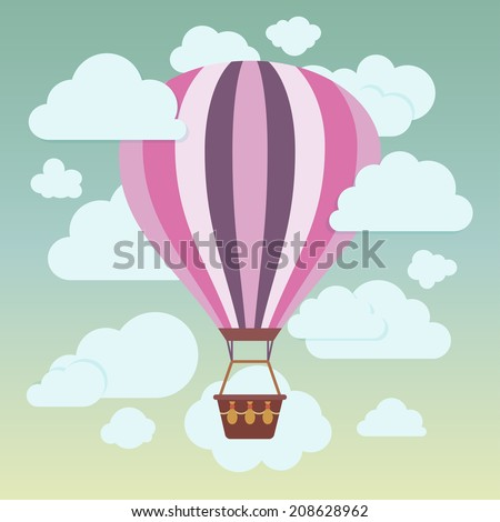 Clouds and striped hot air balloon on a blue background. Vector illustration - stock vector