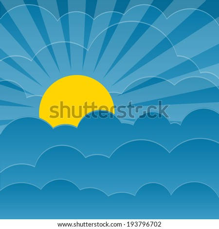 Clouds background with sun