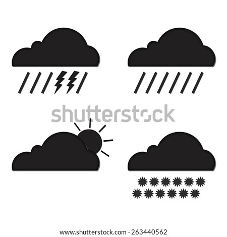 Clouds collection. Weather icons set. Web elements. Vector illustration - stock vector