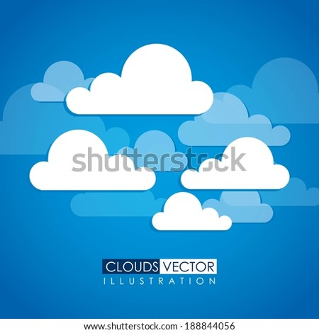 Clouds design over blue background, vector illustration - stock vector