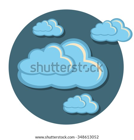 clouds flat icon in circle  - stock vector