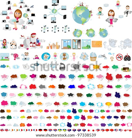 Clouds graphic design elements for background (vector) - stock vector