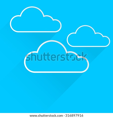 clouds icon with flat design and long shadow on blue background, vector illustration