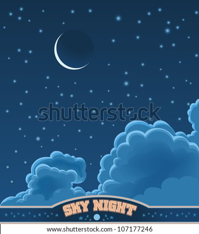 Clouds in a dark Sky - stock vector