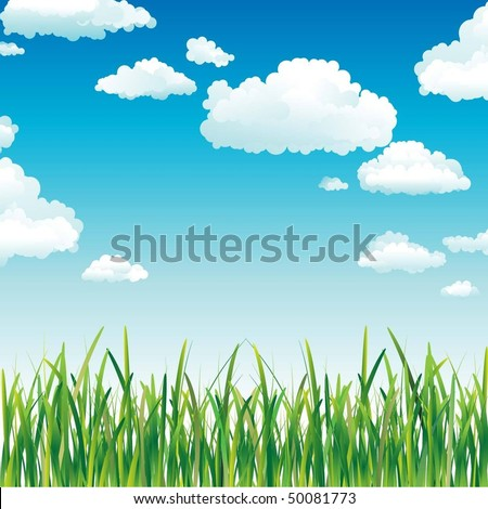 Clouds in the Sky above the Green Grass - stock vector