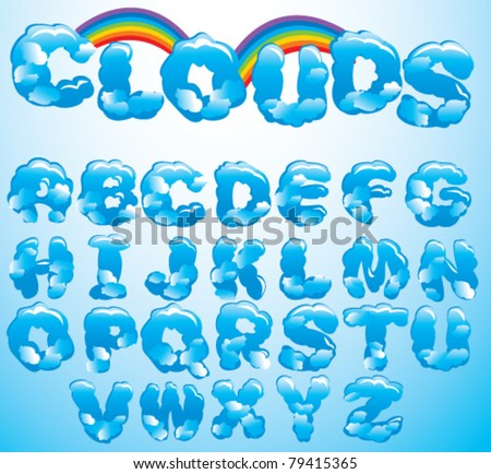 clouds letters - stock vector