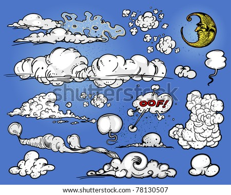 Clouds & moon - stock vector