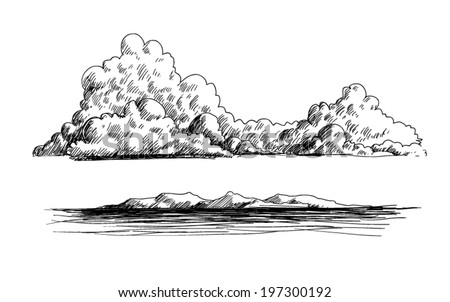 clouds, mountains and ocean doodle illustration - stock vector