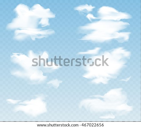 Clouds of different shapes on a transparent background