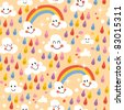 clouds rainbows rain drops seamless pattern - stock vector