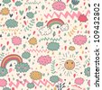 Clouds rainbows rain drops seamless pattern. Vector doodle illustration. - stock vector