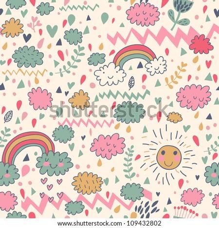 Clouds rainbows rain drops seamless pattern. Vector doodle illustration. - stock vector
